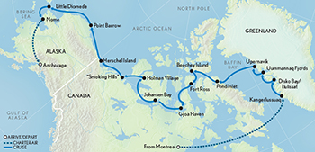 Itinerary map of The Northwest Passage: From Greenland to the Bering Sea