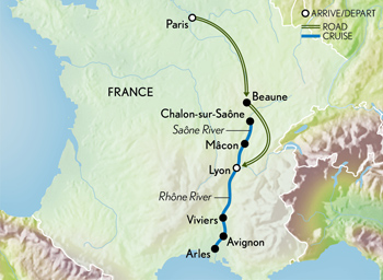 Map for Paris, Burgundy & a South of France Cruise