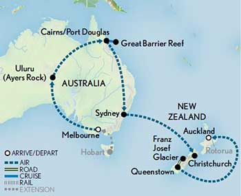 Itinerary map of Australia & New Zealand: The Lands Down Under