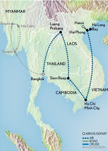 Itinerary map of Images of Indochina & Angkor Wat