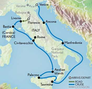 Itinerary map of Italy Cruise: Hidden Treasures from Florence to Venice