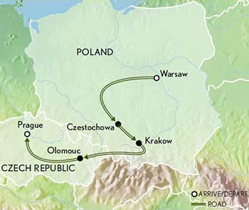 Map for Poland to Prague