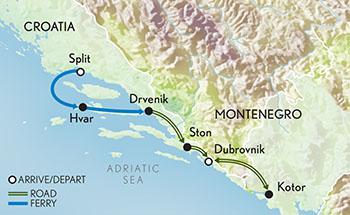 Itinerary map of Signature Croatia