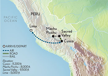 Itinerary map of Signature Peru & Machu Picchu