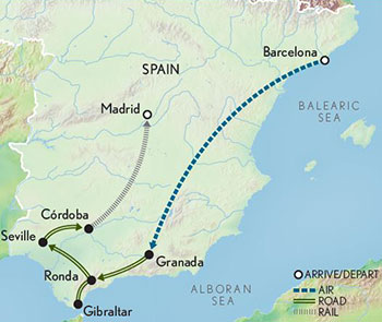 Itinerary map of Spain: Seven Cities
