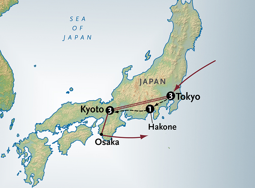 Itinerary map of Simply Affordable Japan