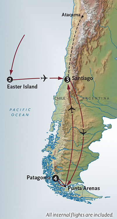 Map for Easter Island + Patagonia