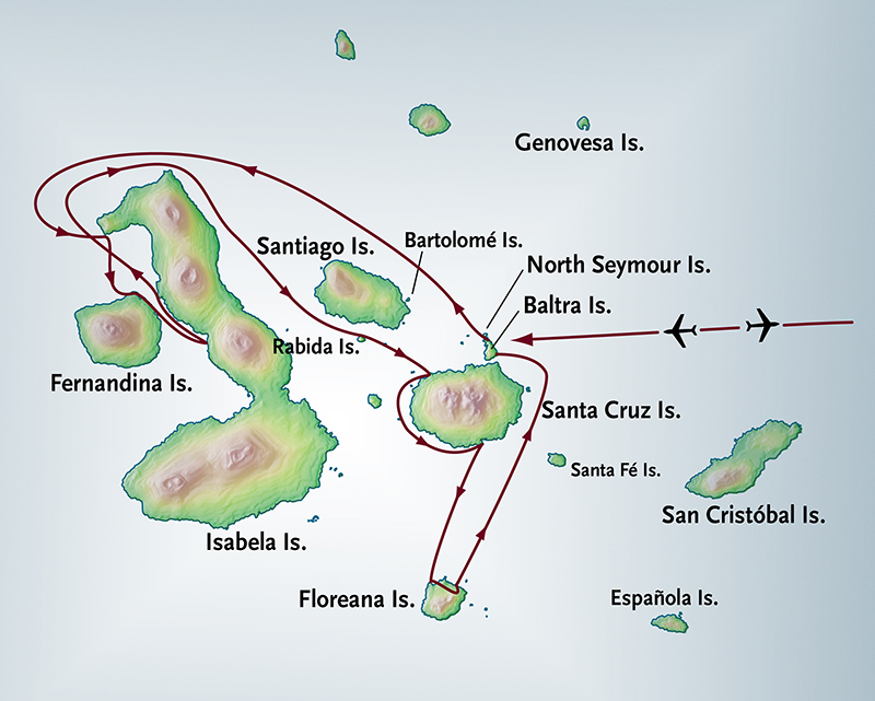 Itinerary map of Western Galapagos Cruise + Quito