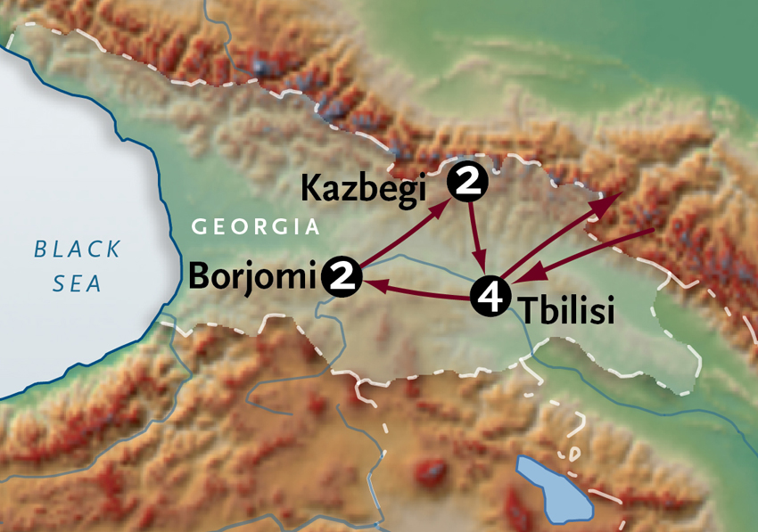 Map for Georgia + the Caucasus