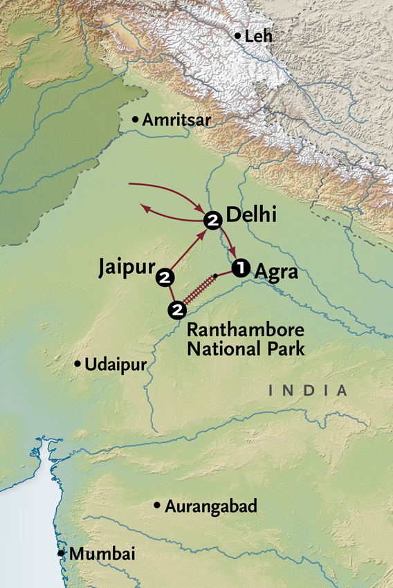 Map for Wild + Wonderful India