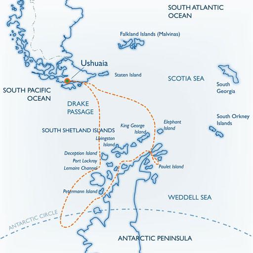 Map for Antarctica + Polar Circle Quest aboard the classic <i>mv Ushuaia</i>