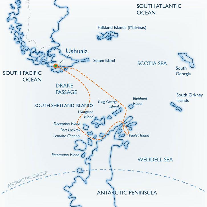 Map for Antarctica + Weddell Sea Adventure aboard the classic <i>mv Ushuaia</i>