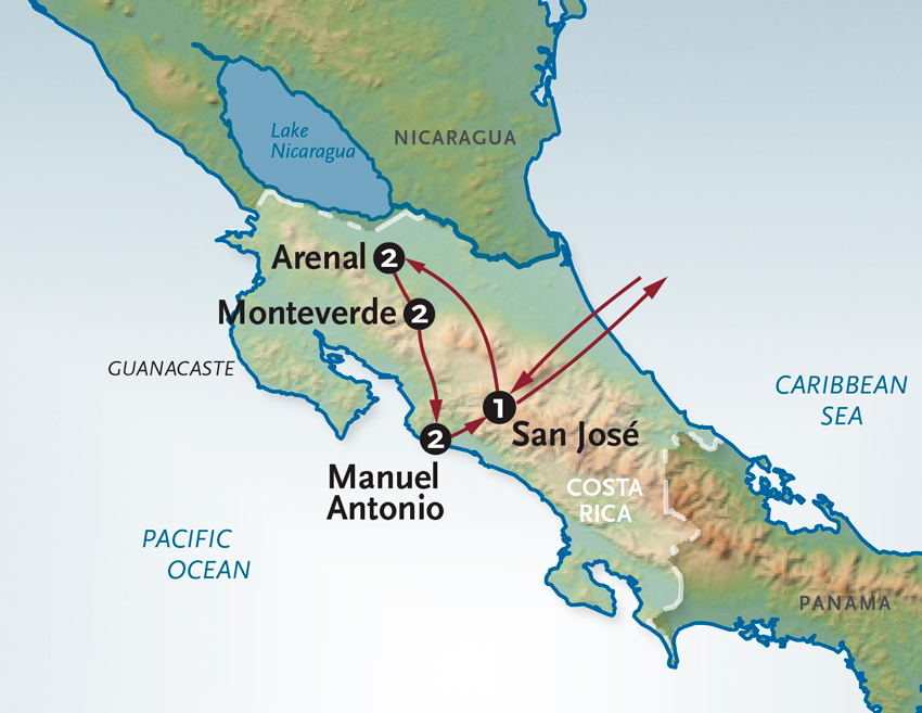 Itinerary map of Costa Rica - Mountains to Sea