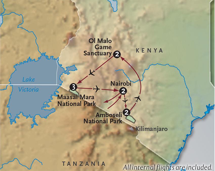 Itinerary map of Kenya Safari In Style