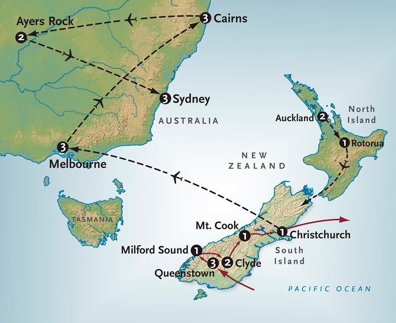 Itinerary map of Spectacular New Zealand