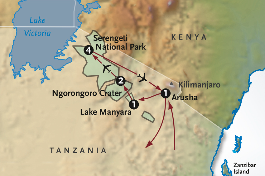 Map for Tanzania's Walking Safari