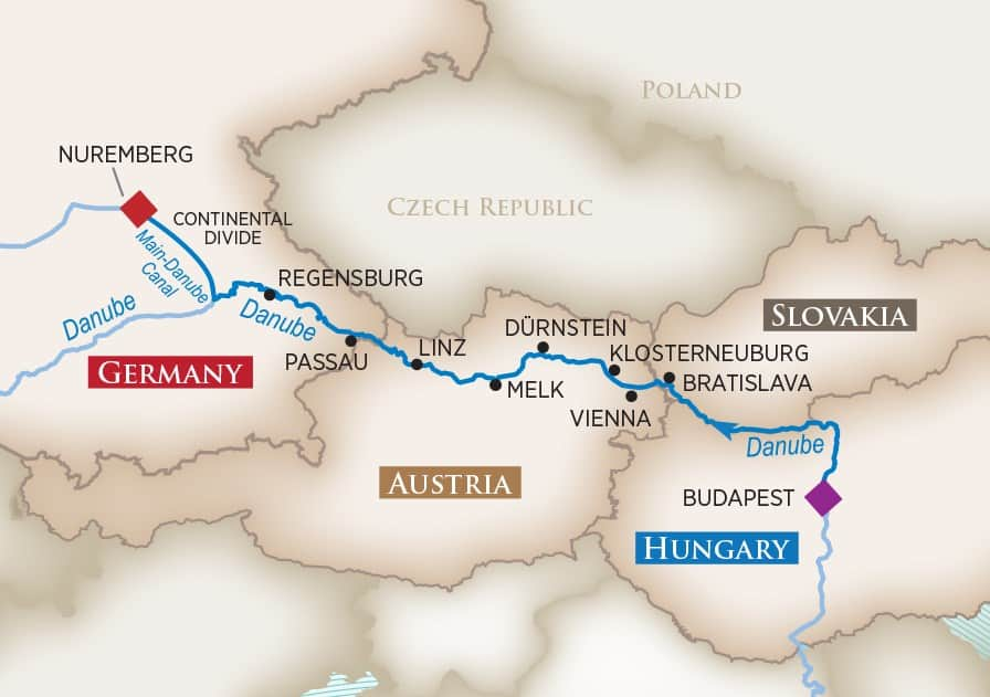 Itinerary map of Blue Danube Discovery (Modified) (Budapest to Nuremberg)