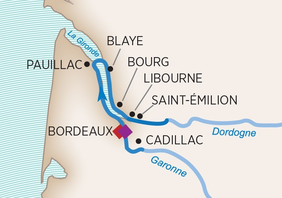 Itinerary map of Taste of Bordeaux