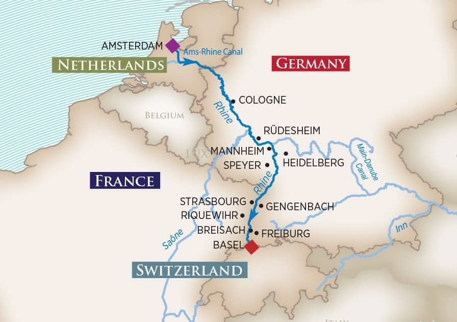 Itinerary map of Christmas Markets on the Rhine (Amsterdam to Basel)