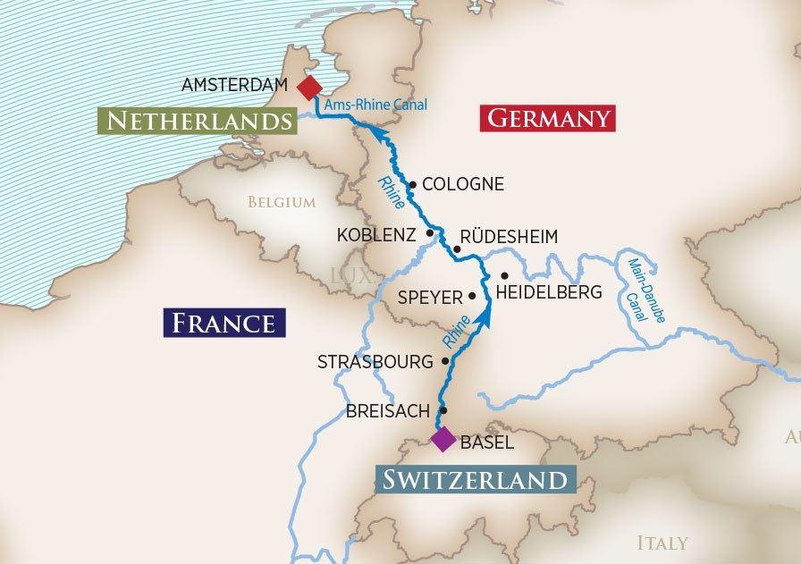 Itinerary map of Enchanting Rhine (Basel to Amsterdam)