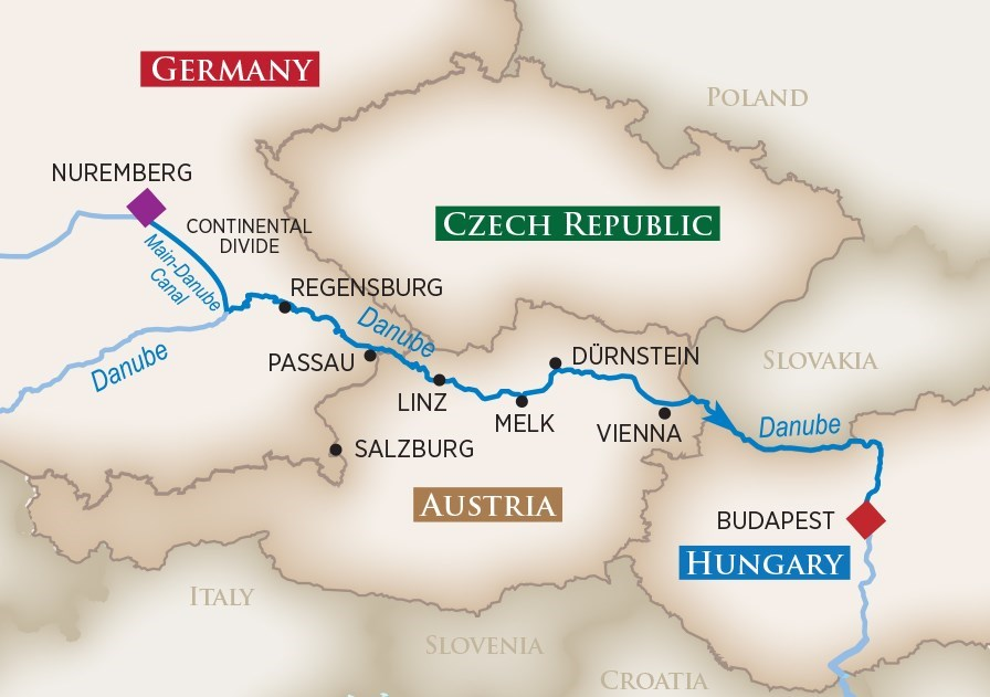 Itinerary map of Legendary Danube (Nuremberg to Budapest)
