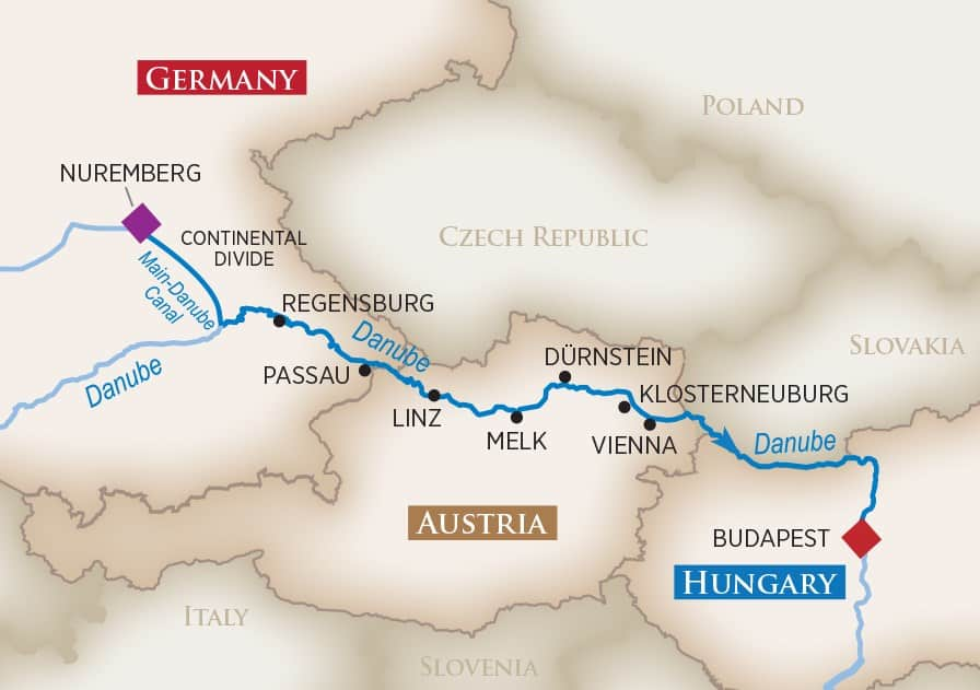 Itinerary map of Legendary Danube (Nuremberg to Budapest)