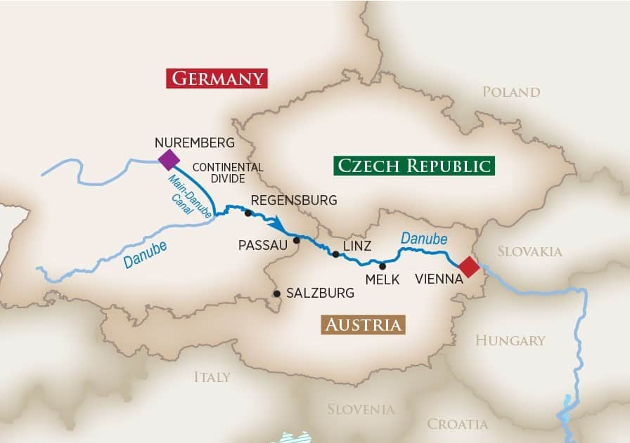 Itinerary map of Magical Christmas Markets (Nuremberg to Vienna)