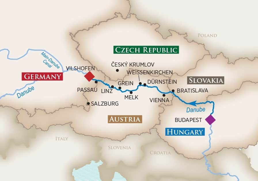 Itinerary map of Melodies of the Danube (Budapest to Vilshofen)