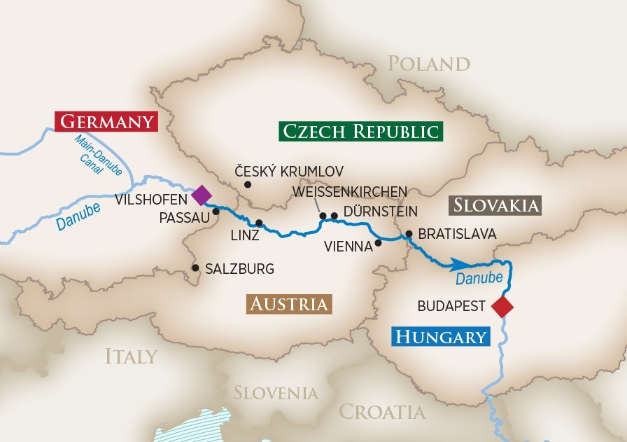 Itinerary map of Romantic Danube (Vilshofen to Budapest)