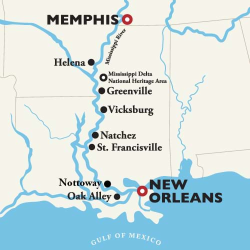 Itinerary map of New Orleans to Memphis — Antebellum South 2019 (American Duchess)
