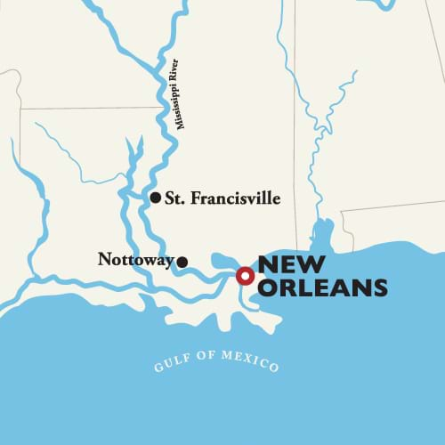 Itinerary map of Roundtrip New Orleans — Southern Highlights 2019 (American Duchess)