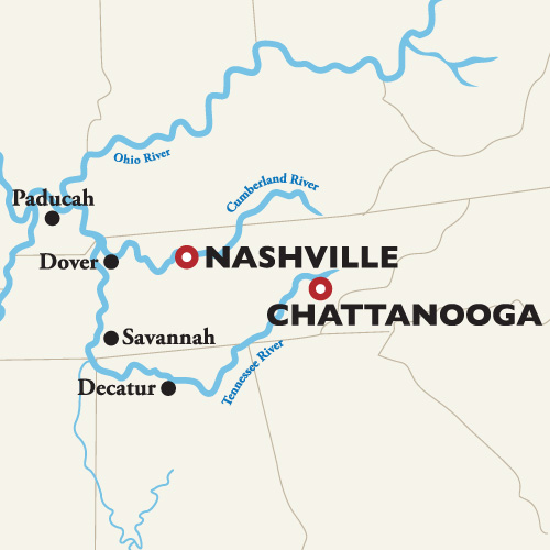 Itinerary map of Chattanooga to Nashville — Civil War 2018