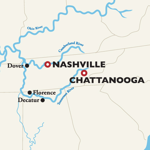 Itinerary map of Nashville to Chattanooga 2018