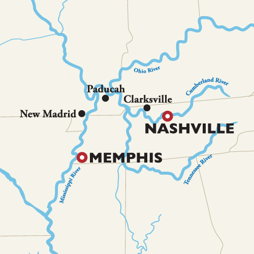 Itinerary map of Nashville to Memphis — American Music Cruise