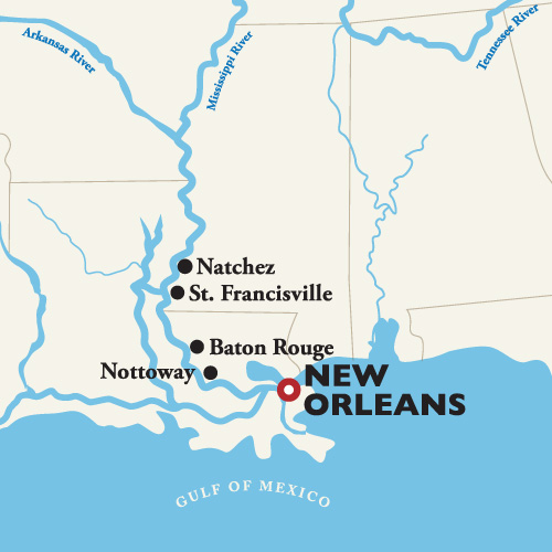 Itinerary map of Roundtrip New Orleans — Christmas Cruise 2018