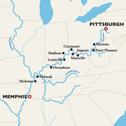 Itinerary map of Memphis to Pittsburgh — Racing on the River 2019