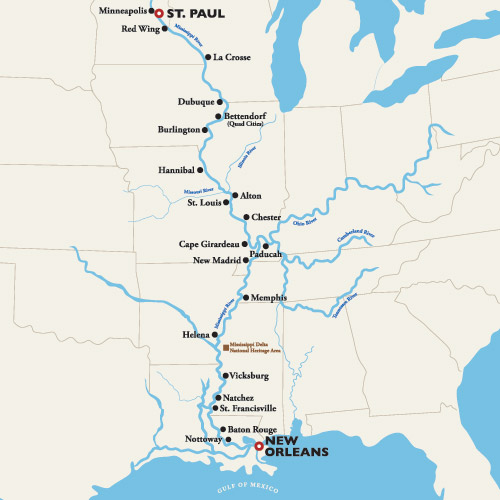 Itinerary map of St. Paul to New Orleans — The Mighty Mississippi 2019 (American Duchess)