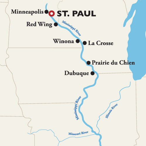 Itinerary map of Roundtrip St. Paul — Heartland Heritage 2019