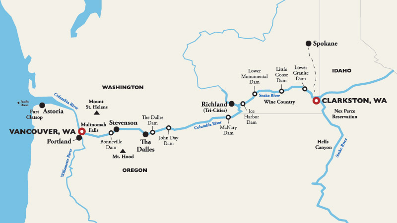 Itinerary map of Vancouver, WA (Portland) to Clarkston 2018