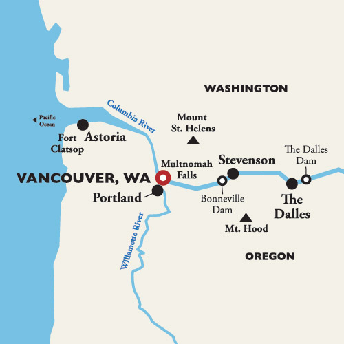 Map for Roundtrip Vancouver, WA (Portland) —  2019 (American Empress)
