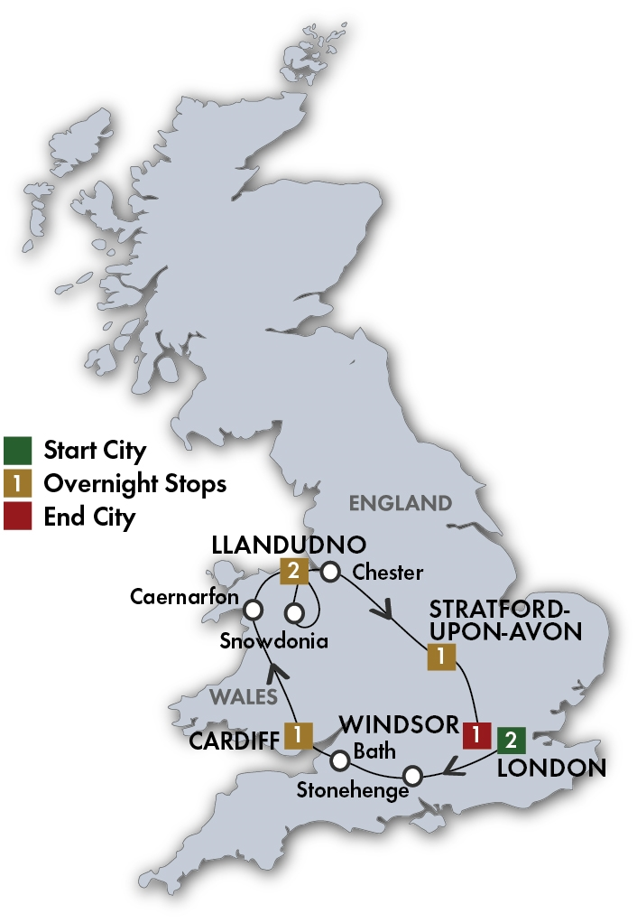 Itinerary map of English Knights & Wizards - London/Windsor 2019 (8 days)
