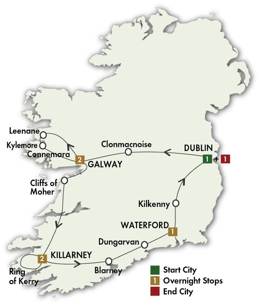 Itinerary map of Irish Gold - Dublin/Dublin 2019 (8 days)