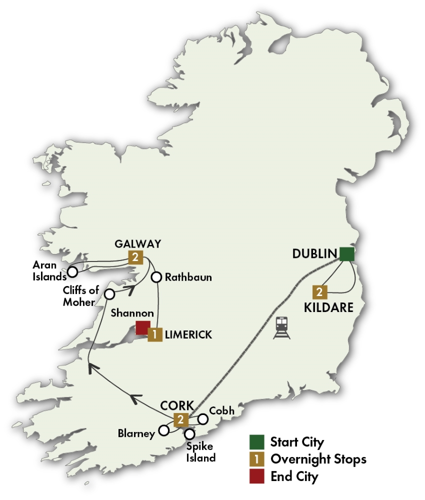 Map for Irish Myths & Legends - Dublin/Shannon 2019 (8 days)