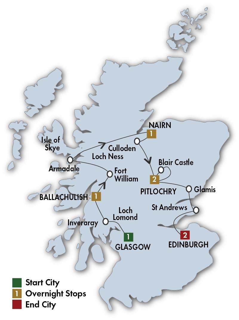 Itinerary map of Scottish Dream - Glasgow/Edinburgh 2019 (8 days)
