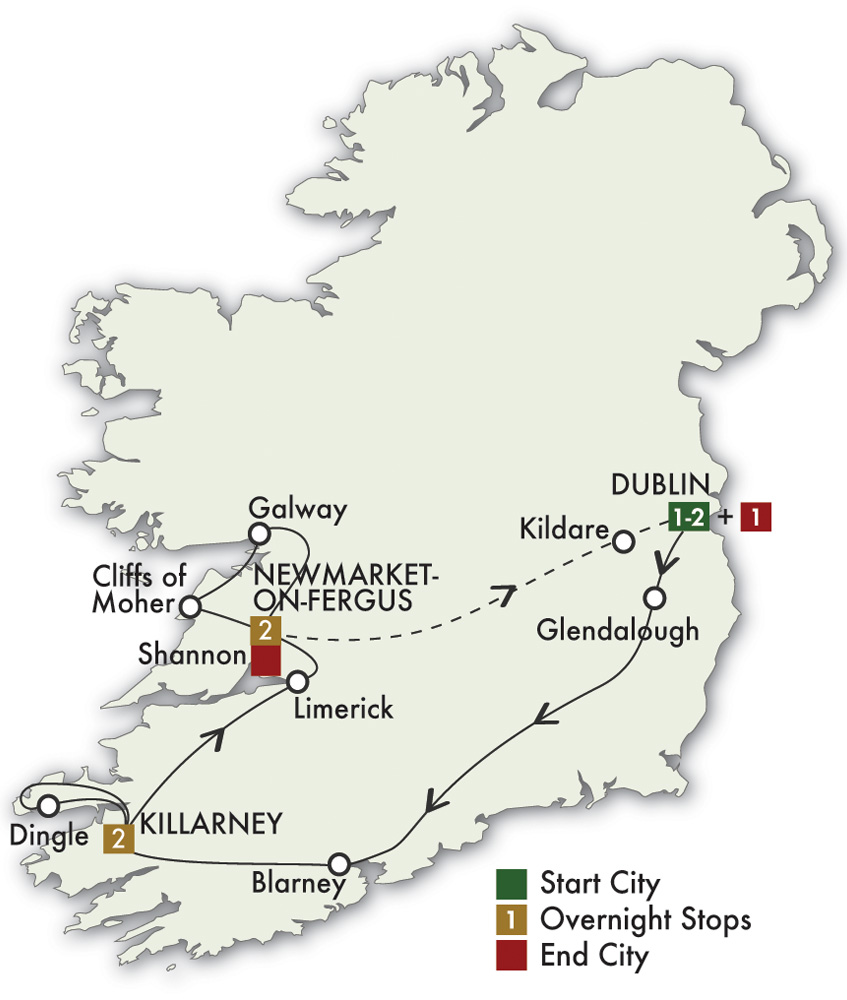 Itinerary map of Best of Ireland South - Dublin/Dublin 2019 (7 days)