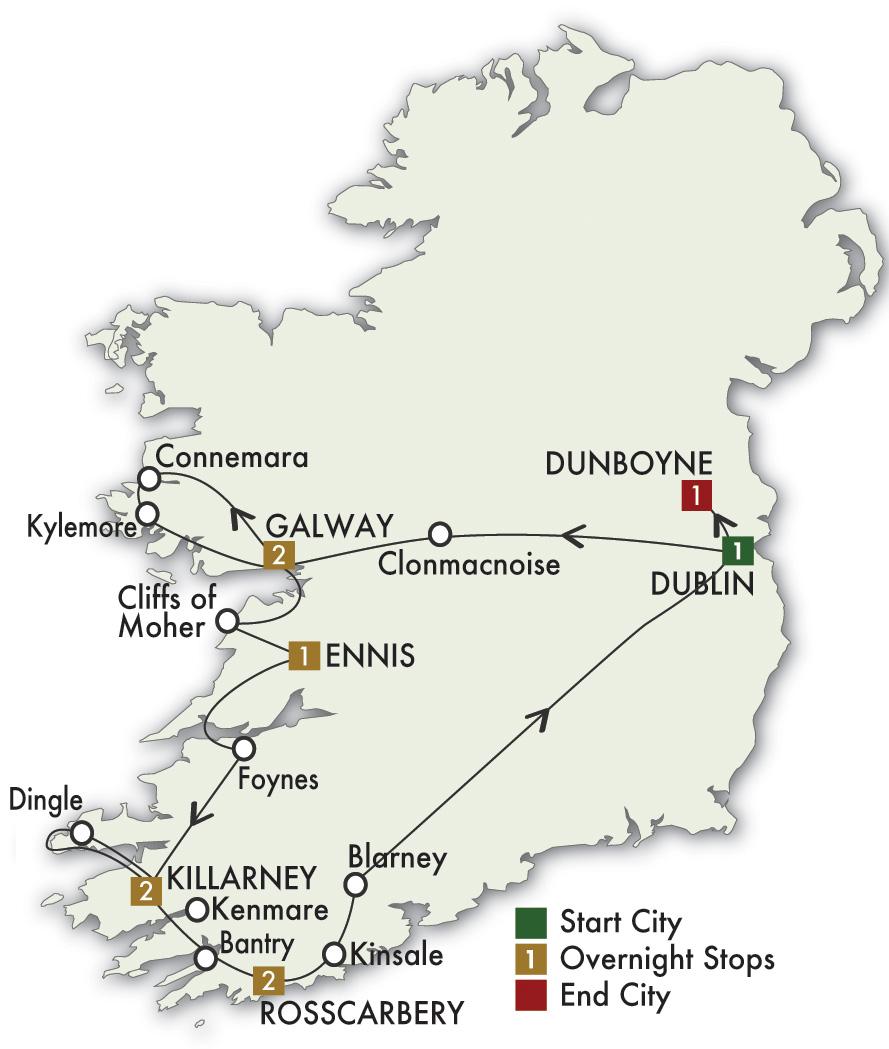 Map for Elegant Ireland - Dublin/Dublin 2019 (10 days)