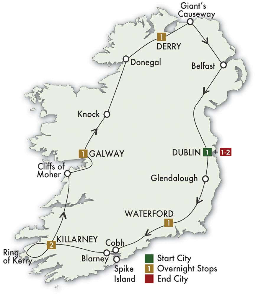 Map for Irish Adventure - Dublin/Dublin 2019 (8 days)