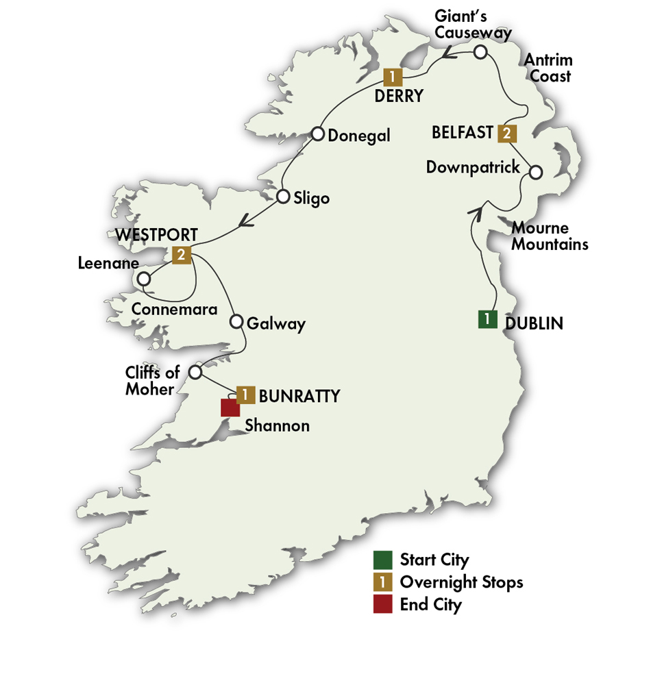 Itinerary map of Mystical Ireland - Dublin/Shannon 2019 (8 Days)