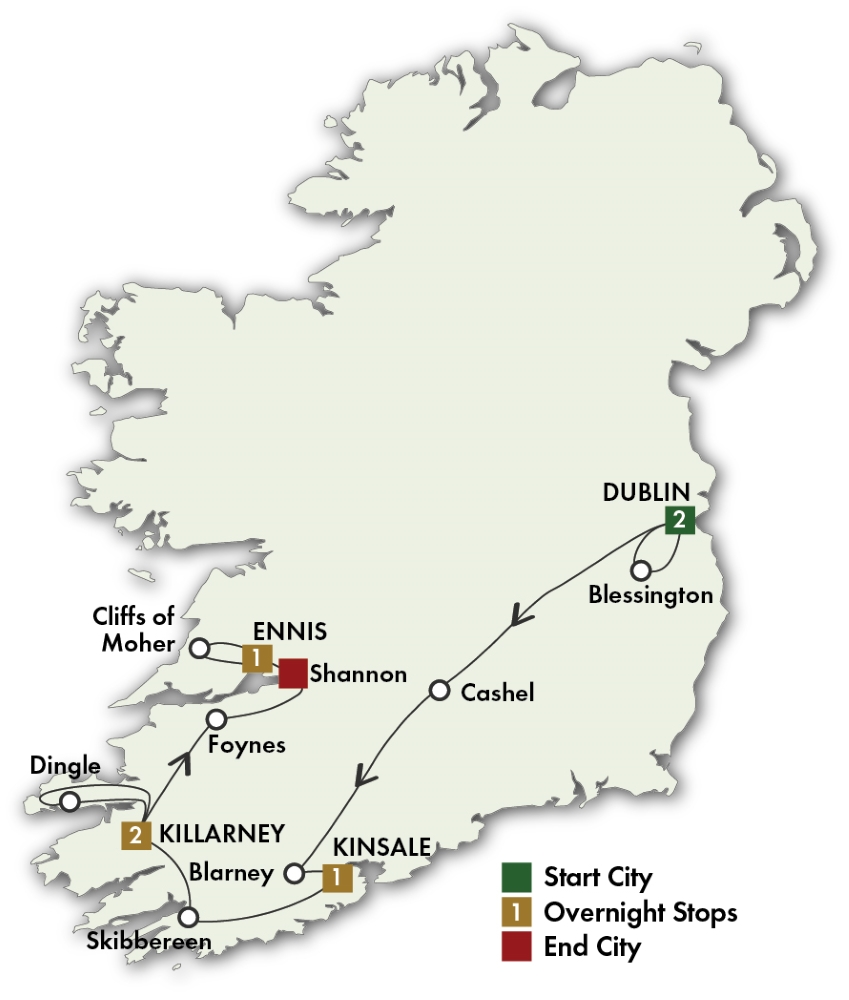 Map for Southern Gems - Dublin/Shannon 2019 (7 Days)
