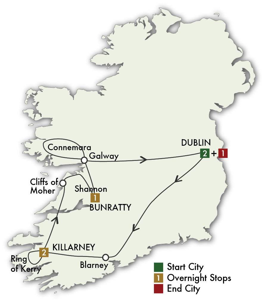 Itinerary map of Taste of Ireland - Dublin/Dublin 2019 (7 days)
